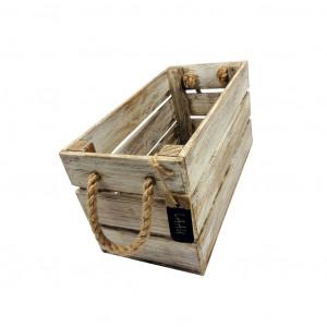 Skrzynka drewniana 15x31,5x16,5 biało - brązowa.