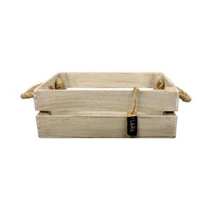 Skrzynka drewniana 20x31,5x11,5 biało - brązowa.