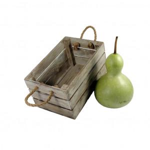 Skrzynka drewniana 20x31,5x16,5 biało - brązowa.
