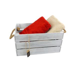 Skrzynka drewniana 20x31,5x16,5 biało - szara.