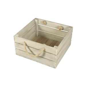 Skrzynka drewniana 30x31,5x16,5 biało - brązowa.