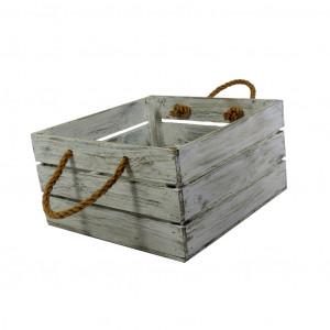 Skrzynka drewniana 30x31,5x16,5 biało - szara.