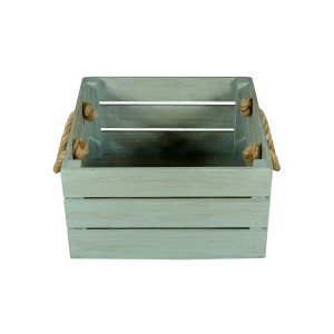 Skrzynka drewniana 30x31,5x16,5 turkus - brąz.