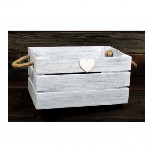Skrzynka drewniana biało - szara z sercem.