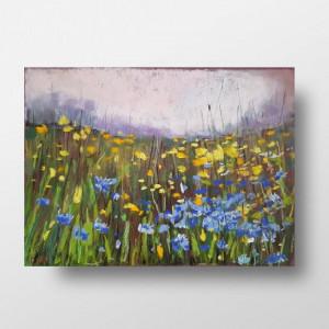 Słoneczna łąka  -praca wykonana pastelami