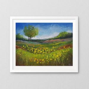Słoneczna łąka-praca wykonana pastelami A5