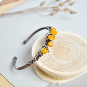 Słoneczne agaty - bransoletka z miedzi