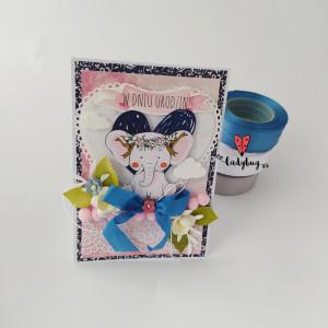 Słonik boho - kartka na urodziny