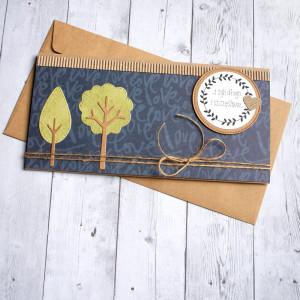 ślubna kartka kopertówka - drzewka - granat