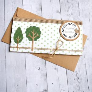 ślubna kartka kopertówka - drzewka - green dots