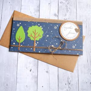 ślubna kartka kopertówka - drzewka - gwiazdy