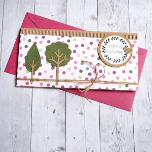 ślubna kartka kopertówka - drzewka - pink