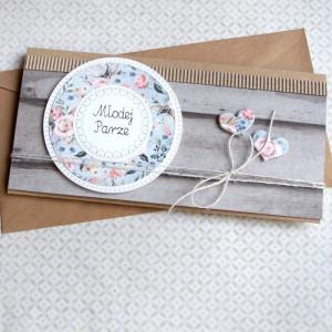 ślubna kartka kopertówka - rustykalna rustic wood