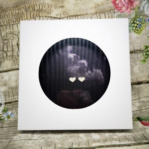 Ślubna kartka w pudełku z okienkiem-Kosmos