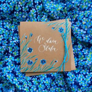 ślubna kwiatki niebieskie