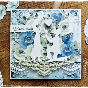 Ślubne błękity - kartka ślubna