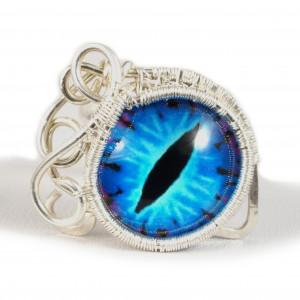 Smocze oko, srebrny pierścionek ręcznie wykonany
