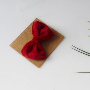 Spinka czerwona kokarda welur 2 rozmiary