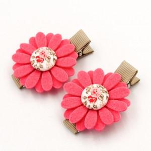 Spinki do włosów kwiatuszki FLORENCE PINK coral