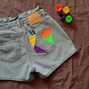 Spodenki jeans denim wysoki stan vintage XS/S
