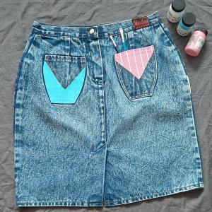 Spódnica jeans ręcznie malowana retro vintage S/M