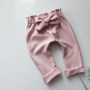 Spodnie baggy kokardka brudny róż dresowe 56-80