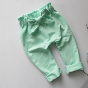 Spodnie baggy kokardka mięta dresowe 56-80