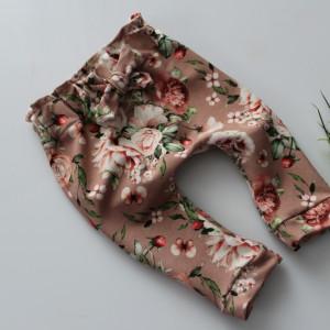 Spodnie baggy kwiaty chłodny róż  56-80