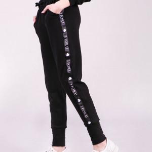 Spodnie dresowe damskie ze ściagaczem i lampasem