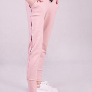 Spodnie dresowe damskie ze ściągaczem, różowe