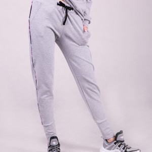 Spodnie dresowe damskie ze ściągaczem, szare