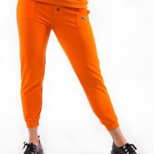 Spodnie dresowe pomarańczowe z nadrukiem 3 foru