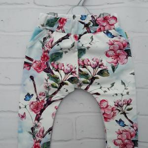 Spodnie kwiaty czereśni  86 - 116