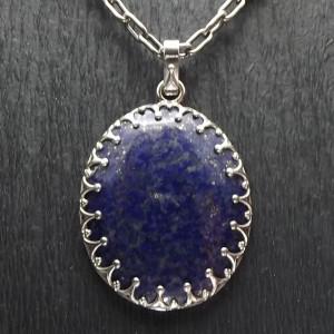 Srebrna korona otula lapis lazuli wisior
