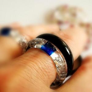 Srebrne płatki pierścionek z żywicy