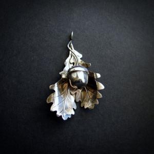 Srebrny Jesienny Wisiorek - Liście Dębu i Żołądź