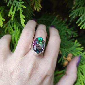 Srebrny pierścionek topaz mistyczny (imitacja)