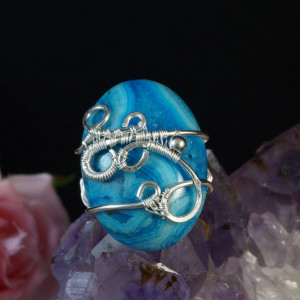 Srebrny pierścionek z agatem koronkowym crazy lace