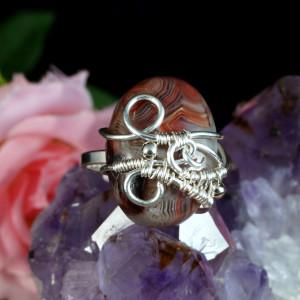 Srebrny pierścionek z agatem koronkowym handmade