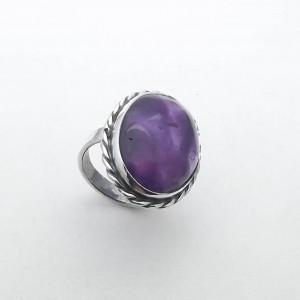 Srebrny pierścionek z ametystem vintage