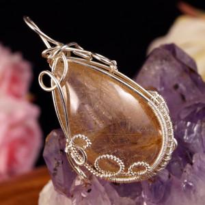 Srebrny wisior z kwarcem z rutylem wire wrapped