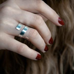 Srebrny zawijany pierścionek