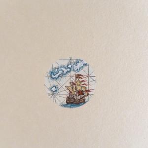 Stara mapa, okręt, żaglowiec, morze, miniatura
