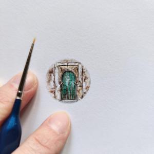 Stare arabskie drzwi, miniatura, akwarela