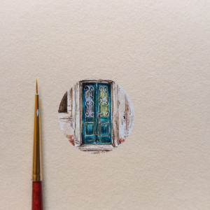 Stare drzwi, Dubrownik, miniatura, akwarela
