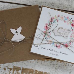 Stylowa kartka na chrzest z pudełkiem - aniołek