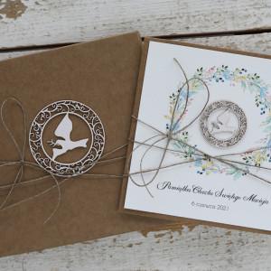 Stylowa kartka na chrzest z pudełkiem - gołąbek1