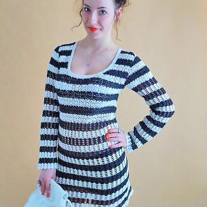 Sukienka handmade biało-czarna