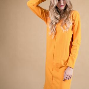 Sukienka klasyczna musztardowa