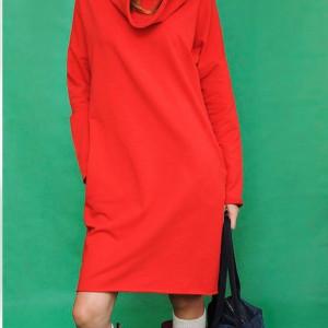 Sukienka z kominem why not oversize czerwona